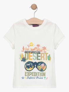 Tee-shirt manches courtes écru garçon  TOFIAGE / 20E3PGQ1TMC001