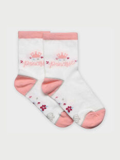 Chaussettes blanc et rose RABIXETTE / 19E4PF41SOQ001