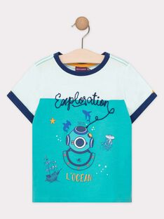 Tee Shirt Manches Courtes Turquoise TEDRIAGE / 20E3PGD2TMC209