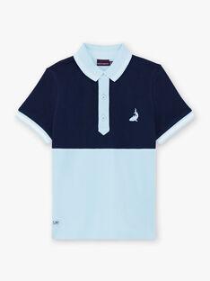 Polo bleu marine et ciel enfant garçon ZITROIFAGE / 21E3PGT1POLC214