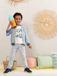 Gilet en maille bleu à petits carreaux garçon  TIDOUAGE / 20E3PGO1GILC208
