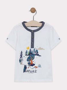 Tee-shirt à manches courtes écru imprimé forêt garçon SALIAGE / 19H3PG21TMC001