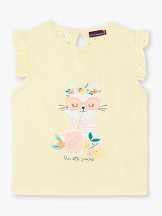 T-shirt jaune bimatière imprimé Chat ZILEMETTE / 21E2PFO1TMCB104