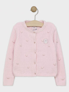 Cardigan tricot chenille rose pastel fille SUIFALETTE / 19H2PFN1CARD326