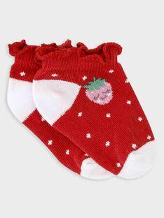 Chaussettes basses rouges bébé fille TAMONA / 20E4BFH1SOB050