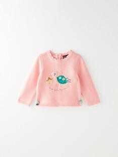 Pull rose en tricot point mousse à motif VAGAELLE / 20H1BFL1PULD329