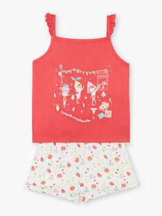 Pyjama short rouge et écru et fines bretelles enfant fille ZEFRUETTE