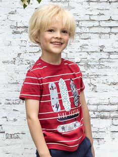 T-shirt rouge à rayures motif skates enfant garçon BADROAGE / 21H3PG11TMC050