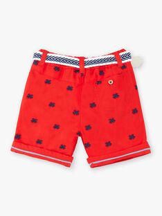 Bermuda rouge avec motif brodé bébé garçon ZAOSCAR / 21E1BGT1BERF524