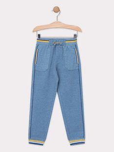 Pantalon molletonné bleu chiné garçon  TECHINAGE / 20E3PGD1PAN721