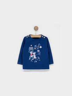 Tee shirt manches longues bleu marine PABAPTISTE / 18H1BG22TML715