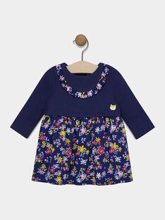 Baby girl's printed navy dress SAEMILIE / 19H1BF41ROB070