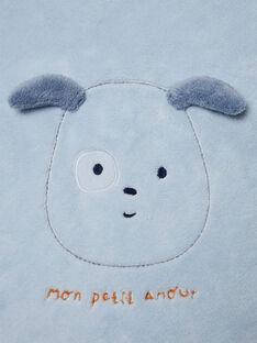 Couverture bleue et blanche motif chiot naissance garçon BONNO / 21H0AG41D4P219