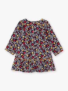 Robe bleu marine imprimé fleuri bébé fille BAELLA / 21H1BF51ROB070