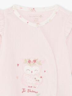 Grenouillère rose motif hiboux  et bonnet naissance fille BOUDY B / 21H0NF41GRE301