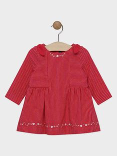 Robe à rayures rose framboise bébé fille  SANANOU / 19H1BFE1ROBJ925