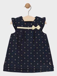 Robe en jacquard bleu nuit étoilée bébé fille  SAZINA / 19H1BFP2ROB070