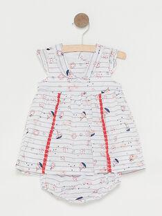 Robe écru à rayures bébé fille  TATIPHENE / 20E1BFW1ROB001