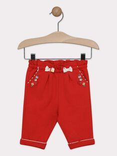 Pantalon rouge bébé fille  TAMONIQUE / 20E1BFH1PAN050