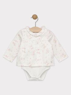 Body chemisier imprimé en satin sur fond écru avec son col froncé bébé fille SYBERTILLE / 19H0CFM1BOD000