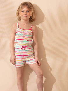 Salopette courte de plage écrue enfant fille ZAOPLETTE / 21E2PFQ2SAC001