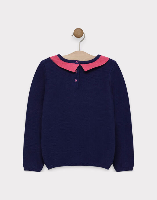 Pull marine col contrasté et animation sequin fille SIZAYETTE / 19H2PF41PUL070