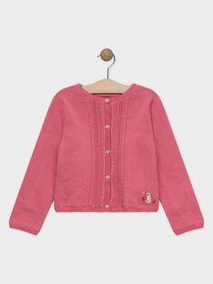 Cardigan doublé jersey rose fille SYOMETTE / 19H2PFE1CAR307