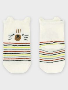 Chaussettes écru à rayures bébé garçon TAARON / 20E4BGB1SOQ001
