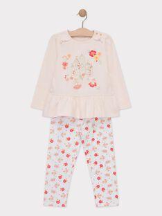 Pyjamas rose pâle petite fille  TEJIMETTE / 20E5PF74PYJD328
