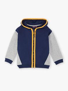 Veste de jogging bleu marine et grise à détails contrastés enfant garçon ZECLAGE2 / 21E3PGK1JGH070