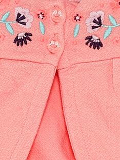 Cardigan rose brodé bébé fille  TAQAROLE / 20E1BFP1CARD323