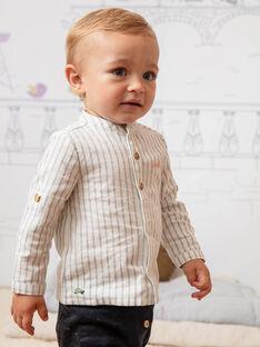 Chemise écrue et bleu marine à rayures bébé garçon BADIEGO / 21H1BG21CHM632