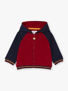 Sweat à capuche rouge et bleu marine bébé garçon BAFRED / 21H1BG51JGH070