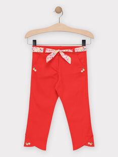 Pantacourt en toile rouge fille  TUPAETTE / 20E2PFH1PCO050