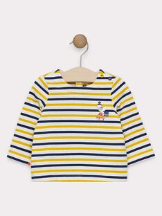 Baby boys' long-sleeved, striped T-shirt with design detail on chest SAFLORIS / 19H1BG41TML109