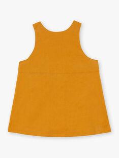 Robe chasuble jaune safran brodée bébé fille BAESTELLE / 21H1BF51CHS109