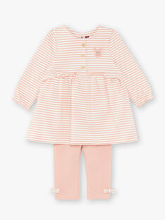 Ensemble robe à rayures rose et  legging ZABRUNE / 21E1BF71ENS009