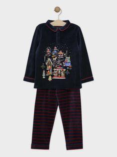 Pyjama en velours bleu nuit et bas rayé petit garçon SOVILLAGE / 19H5PGQ2PYJC205