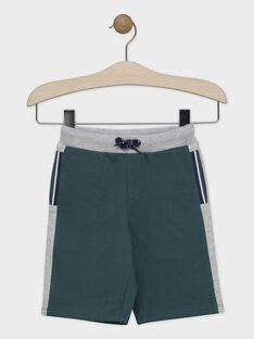 Bermuda vert en molleton gratté garçon SACHOUAGE-2 / 19H3PGD2BERG625