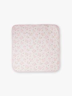 Couverture rose pâle à motif tête de chat naissance fille BOA / 21H0AF41D4P301
