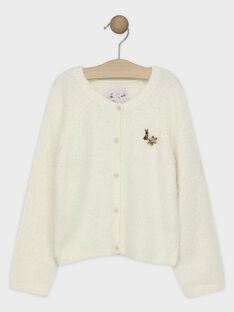 Cardigan tricot fantaisie écru fille SUIJAMETTE / 19H2PFN2CAR001