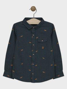 Chemise bleu nuit à petits carreaux garçon SACOURAGE / 19H3PGC1CHM705
