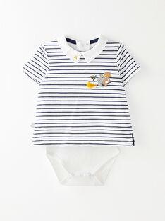Body t-shirt manches courtes à rayure blanche et marine  VAFELIXEX / 20H1BG62BOD001