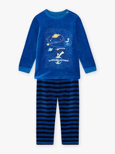 Pyjama bleu en velours avec livre LOUP enfant garçon BULOUAGE / 21H5PGN1PYJC232
