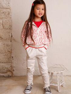 Jogging écru chiné à détails roses enfant fille ZLYMIETTE / 21E2PFK1JGBA011