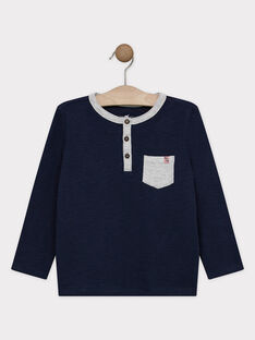 Tee-shirt manches longues bleu marine en jersey texturé garçon SAMIXAGE 3 / 19H3PG97TML070