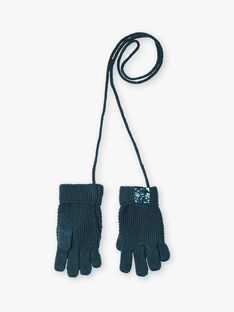 Gants en tricot bleu canard  VEVRAETTE / 20H4PFE1GANC235
