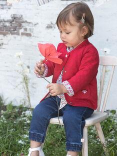 Pantalon en jean denim et ceinture imprimée bébé fille BAANGELE / 21H1BF11PANP270