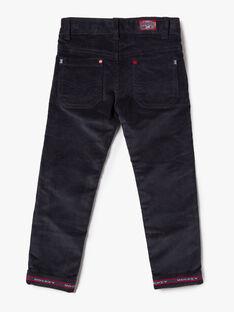 Pantalon bleu marine en velours côtelé VINCAGE / 20H3PGW1PANJ916