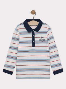 Polo écru et bleu à rayures garçon SEMALAGE / 19H3PGE1POLC200